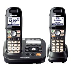 Panasonic DECT 6.0 1.90 GHz Cordless Phone - Metallic Black - Cordless - 1 x Phone Line - 1 x Handset - Speakerphone - Answering Machine - Caller ID - Backlight