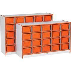 "Rainbow Accents Toddler Single Storage - 20 Compartment(s) - 29.5"" Height x 48"" Width x 15"" Depth - Orange - Rubber - 1Each"