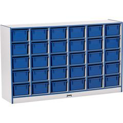 """Toddler Single Storage - 30 Compartment(s) - 35.5"""" Height x 57.5"""" Width x 15"""" Depth - Navy - Rubber - 1Each"""