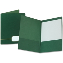 "Monogram Executive Portfolio - 11 7/8"" x 9"" Sheet Size - 2 Pocket(s) - Linen Cover Stock - Green, Gold - 4 / Pack"