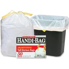 "Handi-Bag Drawstring Tall Kitchen Bags - 13 gal - 24"" Width x 27"" Length x 0.69 mil (18 Micron) Thickness - White - Resin - 300/Carton - 50 Per Box - Kitchen"