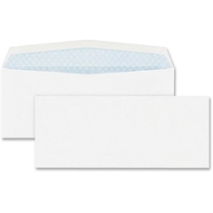 "Quality Park No. 10 Security Business Envelopes - Security - #10 - 4.13"" Width x 9.50"" Length - 24 lb - Gummed - Wove - 500 / Box - White"