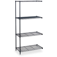 "Safco Industrial Wire Shelving Add-On Unit - 36"" x 18"" x 72"" - 4 x Shelf(ves) - Leveling Glide, Adjustable Leveler, Adjustable Feet, Dust Proof - Black - Powder Coated - Steel, Plastic - Assembly Requ"