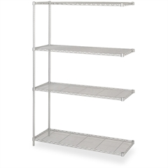 "Safco Add-On Unit - 48"" x 18"" x 72"" - 4 x Shelf(ves) - 1000 lb Load Capacity - Gray - Powder Coated - Steel"