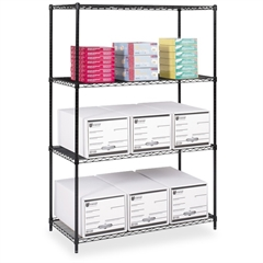 "Industrial Wire Shelving - 48"" x 24"" x 72"" - 4 x Shelf(ves) - 3200 lb Load Capacity - Adjustable Glide, Durable - Black - Powder Coated - Steel - Assembly Required"