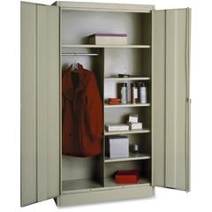 "Tennsco Combination Wardrobe/Storage Cabinet - 36"" x 18"" x 72"" - 2 x Door(s) - Locking Mechanism, Welded, Heavy Duty, Reinforced - Putty - Recycled"