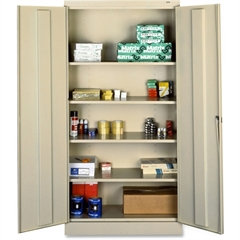 "Tennsco Full-Height Standard Storage Cabinet - 36"" x 18"" x 72"" - 2 x Door(s) - Security Lock, Welded, Reinforced, Hinged Door - Putty - Chrome - Recycled"