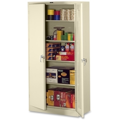 "Tennsco Full-Height Deluxe Storage Cabinet - 36"" x 24"" x 78"" - 2 x Door(s) - Security Lock, Leveling Glide - Putty - Powder Coated - Metal - Recycled"