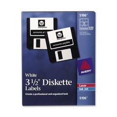 Avery Diskette Label - Permanent Adhesive Length - 9 / Sheet - Circle - Laser, Inkjet - White - 630 / Box