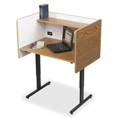 "Balt Study Carrel - 24"" Table Top Length x 37"" Table Top Width - Assembly Required - Oak Interior - Powder Coated Frame, Laminated - Steel"