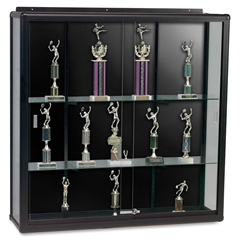 "Wall Mount Display Case - 48"" x 16"" x 48"" - Security Lock - Black - Glass"