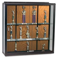 "Wall Mount Display Case - 60"" x 16"" x 48"" - Security Lock - Oak - Glass"