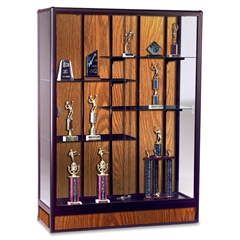 "Elite Freestanding Display Case - 48"" x 18"" x 66"" - 5 x Shelf(ves) - Security Lock, Adjustable Shelf - Oak - Glass, Aluminum"