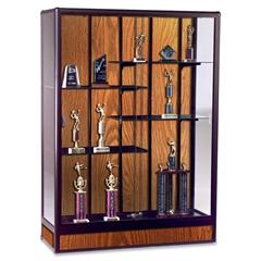 """Balt Elite Freestanding Display Case - 60"""" x 18"""" x 66"""" - 5 x Shelf(ves) - Sliding Door(s) - Security Lock, Adjustable Shelf - Oak - Glass, Aluminum"""