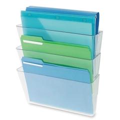"Deflect-o Three Pack Stackable Letter Wall Pocket - 3 Pocket(s) - 3 Compartment(s) - 14"" Height x 13"" Width x 4"" Depth - Wall Mountable - Clear - 3 / Set"