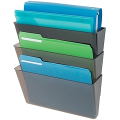 "Deflect-o Three Pack Stackable Letter Wall Pocket - 3 Pocket(s) - 14"" Height x 13"" Width x 4"" Depth - Wall Mountable - Smoke - 3 / Set"