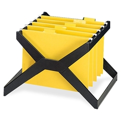 Deflect-o Desktop Hanging File X-Rack - 25 x Hanging Folder Capacity - Letter/Legal - Plastic - 1Each - Black