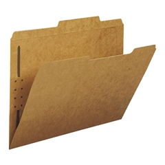"""Kraft Fastener Folders - Letter - 8 1/2"""" x 11"""" Sheet Size - 3/4"""" Expansion - 1 x Prong K Style Fastener(s) - 2"""" Fastener Capacity for Folder - 1/3 Tab Cut - Assorted Position Tab Location - 11 p"""