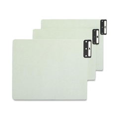 """100% Recycled Extra Wide End Tab Pressboard Guides, Vertical Metal Tab Style - Blank - 12.25"""" Divider Width x 9.50"""" Divider Length - Gray, Green Pressboard Divider Metal Tab - 25 / Set"""