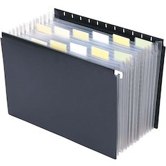 "Smead Poly Hanging Expanding File - Letter - 8 1/2"" x 11"" Sheet Size - 7/8"" Expansion - 13 Pocket(s) - 12 Divider(s) - Polypropylene - Black - 1 Each"