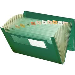 "Poly Expanding Files - 9 1/4"" x 13"" Sheet Size - 7/8"" Expansion - 12 Pocket(s) - 12 Divider(s) - Polypropylene - Green - 1 Each"