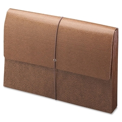 "Leather-Like Expanding Wallets with Elastic Cord - 10"" x 15"" Sheet Size - 5 1/4"" Expansion - Brown - Recycled - 1 Each"