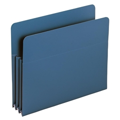 "Poly File Pockets - Letter - 8 1/2"" x 11"" Sheet Size - 3 1/2"" Expansion - Polypropylene - Blue - 4 / Box"
