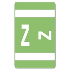 """Smead AlphaZ® ACCS and ACC Color-Coded Alphabetic Labels - 1"""" Width x 1.62"""" Length - 10 / Sheet - Light Green - 100 / Pack"""