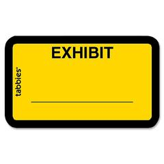 "Tabbies Color-coded Legal Exhibit Labels - 1 5/8"" Width x 1"" Length - Yellow - 252 / Pack"