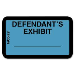 "Tabbies Defendant's Exhibit Legal File Labels - 1 5/8"" Width x 1"" Length - Blue - 252 / Pack"