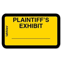 "Tabbies Plaintiff's Exhibit Legal File Labels - 1 5/8"" Width x 1"" Length - Yellow - 252 / Pack"