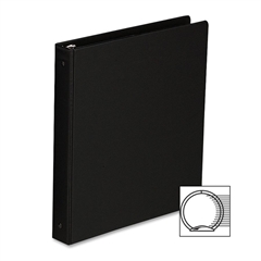 "Sparco Vinyl Ring Binders - 1"" Binder Capacity - Statement - 5 1/2"" x 8 1/2"" Sheet Size - 3 x Round Ring Fastener(s) - 2 Inside Front & Back Pocket(s) - Vinyl - Black - 1 Each"