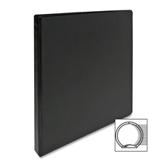 "Sparco Round Ring Binder - 1/2"" Binder Capacity - Letter - 8 1/2"" x 11"" Sheet Size - 3 x Round Ring Fastener(s) - 2 Inside Front & Back Pocket(s) - Vinyl - Black - 1 Each"