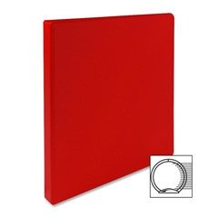 "Sparco Vinyl Ring Binders - 1/2"" Binder Capacity - Letter - 8 1/2"" x 11"" Sheet Size - 3 x Round Ring Fastener(s) - 2 Inside Front & Back Pocket(s) - Vinyl - Red - 1 Each"