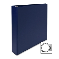 "Sparco Round Ring Binder - 1 1/2"" Binder Capacity - Letter - 8 1/2"" x 11"" Sheet Size - 3 x Round Ring Fastener(s) - 2 Inside Front & Back Pocket(s) - Vinyl - Dark Blue - 1 Each"