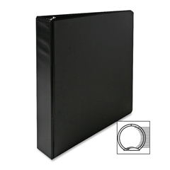 "Sparco Round Ring Binder - 1 1/2"" Binder Capacity - Letter - 8 1/2"" x 11"" Sheet Size - 3 x Round Ring Fastener(s) - 2 Inside Front & Back Pocket(s) - Vinyl - Black - 1 Each"