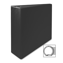 "Sparco Vinyl Ring Binders - 3"" Binder Capacity - Letter - 8 1/2"" x 11"" Sheet Size - 3 x Round Ring Fastener(s) - 2 Inside Front & Back Pocket(s) - Vinyl - Black - 1 Each"