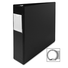 "Sparco Nonlocking 3-Ring Letter Size Binders - 2"" Binder Capacity - Letter - 8 1/2"" x 11"" Sheet Size - 3 x Round Ring Fastener(s) - Vinyl - Black - 1 Each"