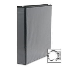 "Sparco Standard Round Ring View Binders - 1"" Binder Capacity - Letter - 8 1/2"" x 11"" Sheet Size - Ring Fastener - 2 Internal Pocket(s) - Black - 1 Each"