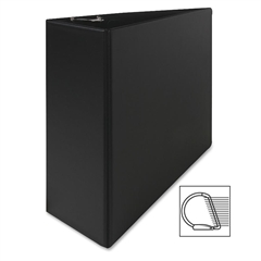 "Slant Ring Binder - 4"" Binder Capacity - Letter - 8 1/2"" x 11"" Sheet Size - 3 x D-Ring Fastener(s) - Inside Front Pocket(s) - Cardboard, Vinyl - Black - 1 Each"