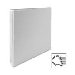 "Sparco Deluxe No-Gap Slanted Ring View Binder - 1"" Binder Capacity - Letter - 8 1/2"" x 11"" Sheet Size - 3 x D-Ring Fastener(s) - 2 Internal Pocket(s) - Vinyl, Polypropylene - White - 1 Each"