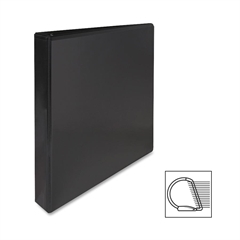 "Sparco Deluxe Slant Ring View Binder - 1"" Binder Capacity - Letter - 8 1/2"" x 11"" Sheet Size - 3 x D-Ring Fastener(s) - 2 Internal Pocket(s) - Vinyl, Polypropylene - Black - 1 Each"
