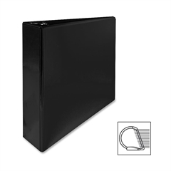 "Sparco Deluxe Slant Ring View Binder - 2"" Binder Capacity - Letter - 8 1/2"" x 11"" Sheet Size - 3 x D-Ring Fastener(s) - 2 Internal Pocket(s) - Vinyl, Polypropylene - Black - 1 Each"