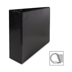 "Sparco Deluxe Slant Ring View Binders - 3"" Binder Capacity - Letter - 8 1/2"" x 11"" Sheet Size - 3 x D-Ring Fastener(s) - 2 Internal Pocket(s) - Vinyl, Polypropylene - Black - 1 Each"