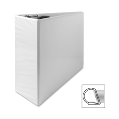 "Sparco Deluxe Slant Ring View Binder - 4"" Binder Capacity - Letter - 8 1/2"" x 11"" Sheet Size - 3 x D-Ring Fastener(s) - 2 Internal Pocket(s) - Vinyl, Polypropylene - White - 1 Each"
