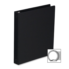 "Sparco Round Ring Binder - 1"" Binder Capacity - 6"" x 9 1/2"" Sheet Size - 3 x Round Ring Fastener(s) - 2 Inside Front & Back Pocket(s) - Vinyl - Black - 1 Each"