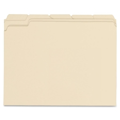 "Top Tab File Folder - Letter - 8.50"" x 11"" Sheet Size - 0.75"" Expansion - 1/5 Tab Cut - Assorted Position Tab Location - 11 pt. Folder Thickness - Manila - Manila - Recycled - 100 / Box"
