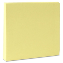 "Adhesive Note - 100 - 3"" x 3"" - Square - Unruled - Yellow - Repositionable, Solvent-free Adhesive - 12 / Pack"