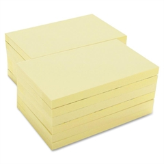 "Adhesive Note - 100 - 3"" x 5"" - Rectangle - Unruled - Yellow - Repositionable, Solvent-free Adhesive - 12 / Pack"