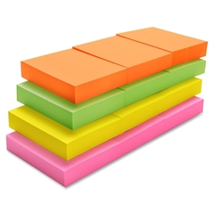 """Sparco Adhesive Note - 1.50"""" x 2"""" - Neon - Repositionable, See-through, Removable, Self-adhesive, Solvent-free Adhesive - 12 / Pack"""